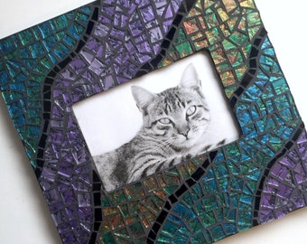 Blue Green Purple Black Mosaic Picture Frame, Iridescent Van Gogh Glass Mosaic Frame, Cut Glass Mosaic Frame, 4 x 6 Horizontal Picture Frame