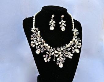 Bridal Accessory, Wedding Jewelry,Bridal Set, Pearl And Crystal Necklace And Earrings Set, Wedding Set, Wedding Necklace, Rhinestone Set
