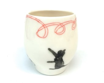 Cat Pink Ribbon Yunomi Cup