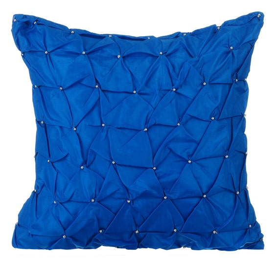 Royal Blue Throw Pillows for Bed 16x16 Pillow Covers Taffeta