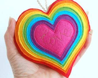 Rainbow Heart - A Colourful Felt Love Heart Decoration - A rainbow spectrum heart decoration, stitched in gold with the word love.