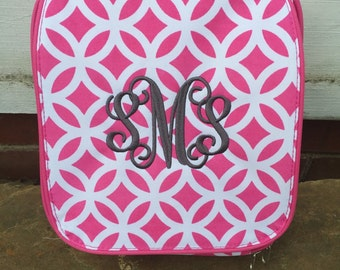 Pink Sadie Lunch Bag-Pink Geometric Lunch Bag-includes Monogram-Insulated Lunch Bag-Insulated Cooler-Lunch Box
