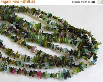 25% Off SALE Pink Green Watermelon Tourmaline Pencil Point Stick CRystal Briolette Beads  1/2 Of 16 1/2 Inches Natural