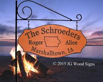 Family Name State Outline Sign - Redwood - Includes RV Sign Holder JG Wood Signs RV Camping Sign Schroeder