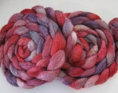 Valentine Wishes - Silk and BFL Wool Roving (Top) - Handpainted Spinning or Felting Fiber - 3.1 ounces