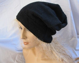 Black Upcycled Felted Wool Slouchy Beanie (5513)