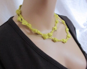 SALE - Lime Green Beaded Crochet Necklace (5182)