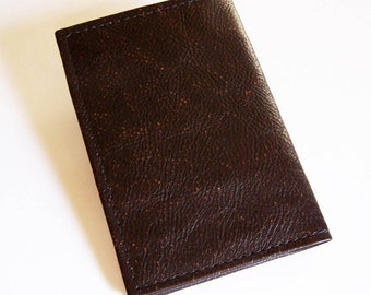 Brown Leather Passport Cover - For U.S. and Canada Passports - Dark Brown Leather