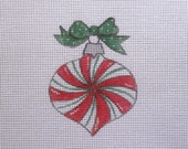 Swirl Peppermint Candy Handpainted Needlepoint Canvas Christmas Ornament
