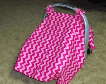 Chevron ( pink and hot pink) with lining infant car seat canopy--seat not included