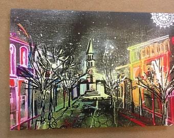 Winter on Church St Burlington Vermont Note Card