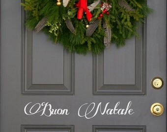 Italian Buon Natale Christmas holiday festive front  door decal First Class Shipping