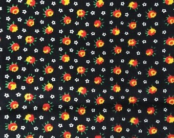 Vintage Cotton floral fabric black orange yellow white flowers 1.5 yards