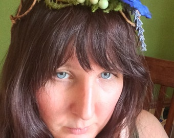 Blue Poppy green berries Lavender Bridal featival floral fern wreath crown headband