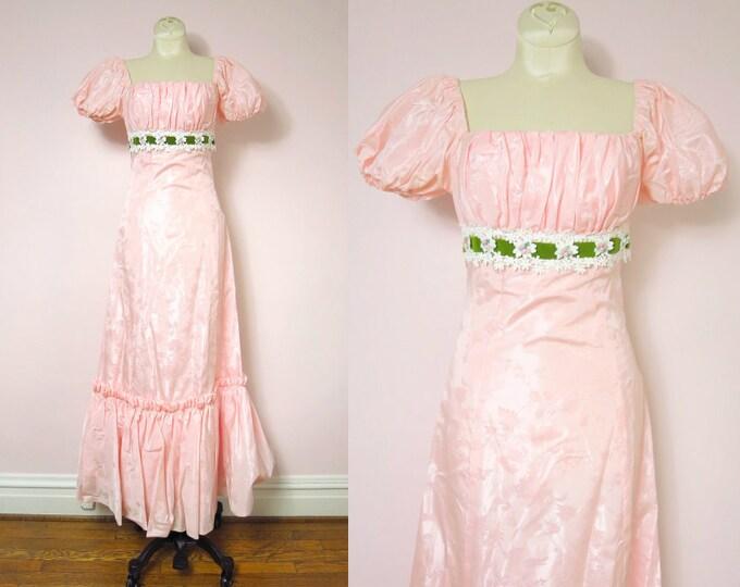 Vintage Pale Pink Satin Brocade Ruched Bodice Formal Dress XS