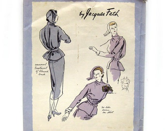 40s RARE Jacques Fath Asymmetric Jacket Pattern Vogue Original Model 1085 Designer Suit Vintage Sewing Pattern Size 12