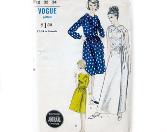 1960s Vintage Sewing Pattern / Wrap Dress with Double Breasted Bodice / Sleeveless Dress / Vogue 6077 / Size 12 / UNCUT FF