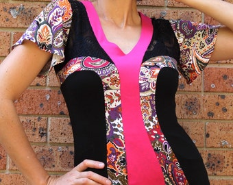 Women's Knit Top, V Neck, Pink and Black, Printed Paisley Jersey Knit, Black Lace, Short Sleeves, Made in Australia.