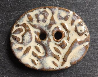 Handmade Button - Brown and Cream Stoneware Button -  Ceramic Button - Textured Button - Knitting Supplies - Sewing Supplies