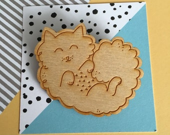 Furry Curly Cat Brooch