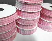 Pink Gingham Ribbon, scalloped edges, 25 yard spool, 1 inch wide, trim, bow, Gingham Checkered Pink + White