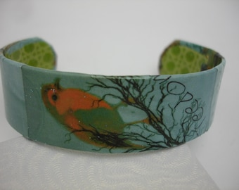 Bird Bracelet Decoupage Cuff Bracelet Blue Bird Bracelet