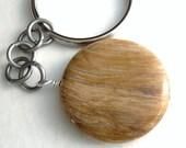 Petrified Wood Keychain, Genuine Fossil, Round Agate Stone, Geology Key Fob