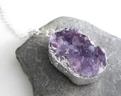 Druzy Amethyst Necklace, Raw Quartz Pendant, Purple Crystal Jewelry