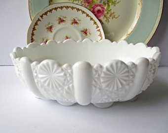 Vintage Fenton Daisy and Buttons Milk Glass Oval Serving Bowl