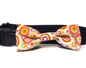 Bowtie for dogs in a modern circle design, dog collar bowtie, collar bow, fabric bowtie, fabric bow, orange, purple