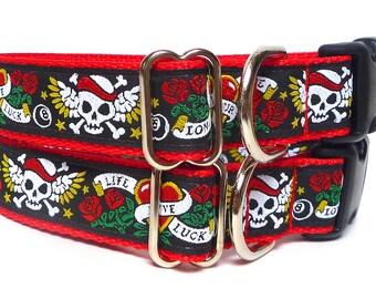 LOVE SKULLS, skulls collar, dog collar, tag Collar, buckle collar, buckle dog collar, house collar, skulls dog collar, pirates skull collar