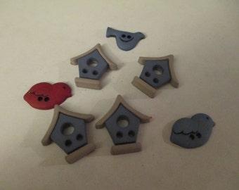 7 Birdhouse and Bird Flat Back Buttons Resins Craft Supplies