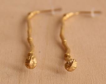 Long twig earrings-Gold Branch drop earrings -Nature inspired earrings-Woodland jewelry-Wedding earrings-Delicate earrings
