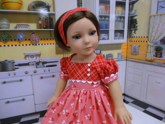 Sweet Cherry Vintage Style Dress For American Girl Doll