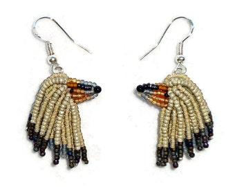 AFGHAN HOUND keepsake beaded dog sterling silver drop earrings (Made to Order)