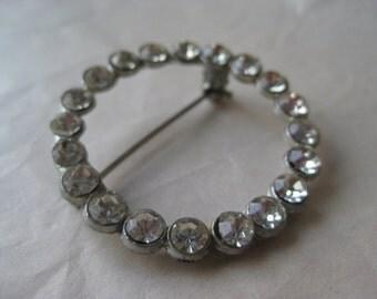 Rhinestone Round Brooch Silver Clear Vintage Pin