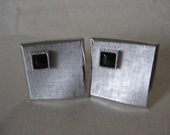Silver Black Stone Texture Cuff Links Vintage Swank
