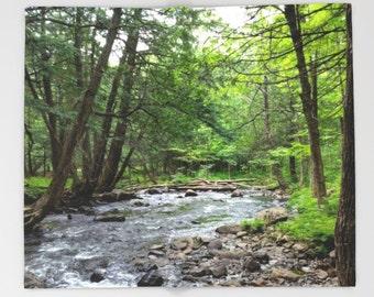 Throw Blanket, Fleece Blanket, Sofa Throw, Landscape photo trees woods forest water Lucie Dumas
