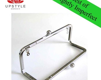"SAVE 50% Private Stash - BEST of Slightly Imperfect Clutch Purse Frames - Set of 10 Frames 8"" x 3"" Nickel with loops"
