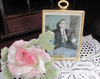 Gold  Metal Picture Frame, Beveled Glass...Hangs or stands..Paris Apt, Wedding, Repurpose,