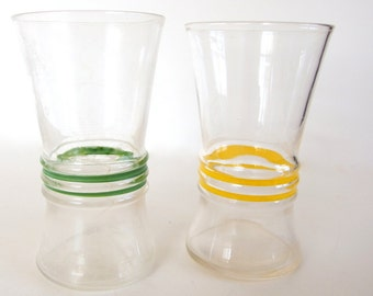 2 Vintage Glasses - Green and Yellow Ribbed, Indented Water Glasses