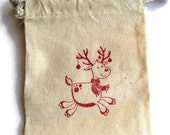 6 Muslin Bags, Christmas Reindeer, gift Bags, Packaging, 3x4 Inches, Hand Stamped Red, Party Favor Bags