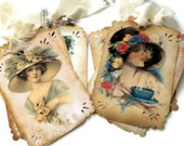 8 Gift Tags, Harrison Fisher Shabby Chic Vintage Lady Tags, Hang Tags,  Party Favor Tags