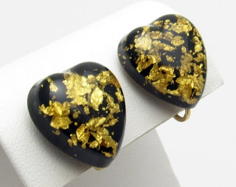 Gold Flake Black Heart Earrings Vintage Lucite Jewelry E7401