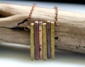 Tribal Necklace, Autumn Colors, Fall Necklace, Neutral Colors, Ceramic Spikes, Brown, Copper, Sage Green, Cream