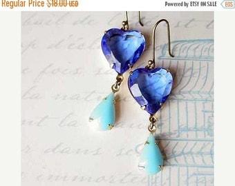 October Sale Heart Earrings, Blue Dangles - Sapphire, Aqua Blue - Valentine's - Love - Vintage Faceted Crystal - Heirloom Estate Quality - G