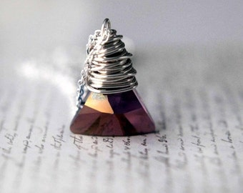 Swarovski Crystal Triangle Pendant  Lilac Shadow Xilion Facets  Orchid Purple  Sterling Silver Wire Wrapped  Gift Box