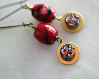 Red Coral Earrings, Millefiore Dangles, Gold Brass, Quirky, Multi-Colored, Bohemian Jewelry