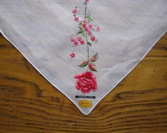 Vintage Swiss Handkerchief, Unused Vintage Hanky With Tag, Red Rose Handkerchief, Made In Switzerland, Red Rose Handkerchief, Embroidered