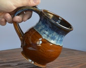 Mug coffee ceramic, glazed in brown and blue, tea cup stoneware, handmade by hughes pottery